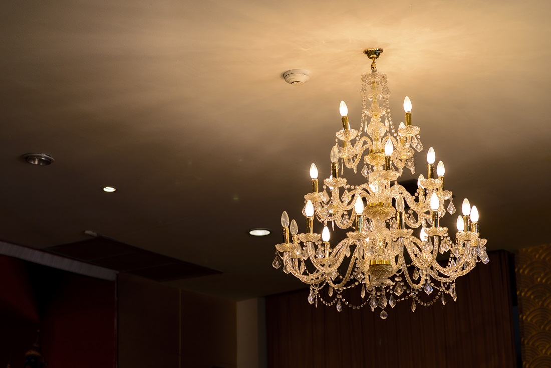 Chandeliers in the room