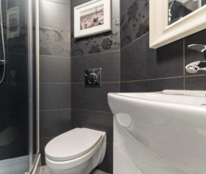 43706629 - photo of black and white modern design bathroom
