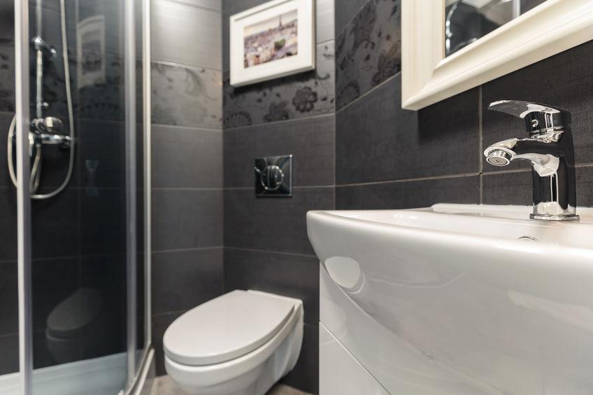 43706629 – photo of black and white modern design bathroom
